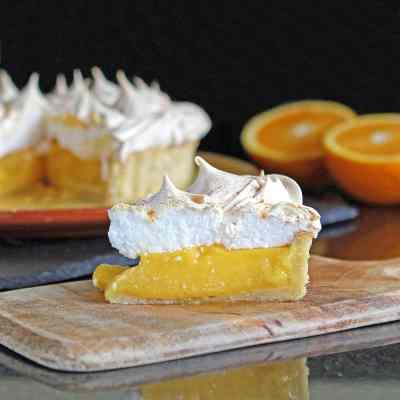 Orange Meringue Pie with (Optional) Gluten Free Lime & Walnut Pastry