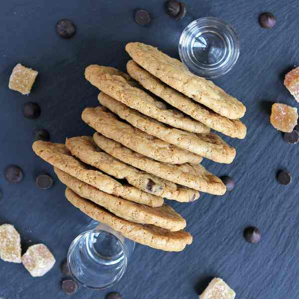 Chocolate Chip Ginger Cookies – (with Crystallised Ginger) – Gluten Free
