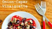Sliced Tomato, Olive and Goat Cheese Salad with Onion-Caper Vinaigrette