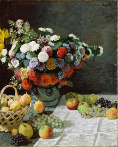 """Painting: """"Still Life with Flowers and Fruit"""" by Claude Monet"""