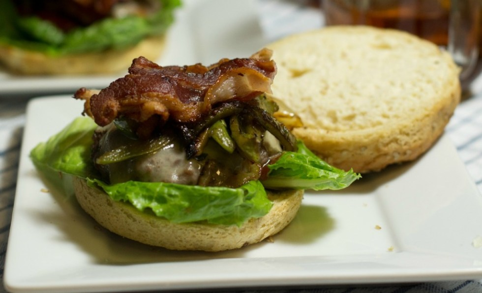 Bacon Cheeseburger with Caramelized Onions and Peppers on a Gluten Free Bun