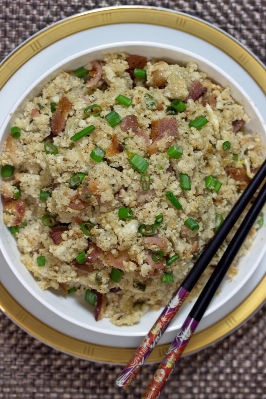 "Seasoned Cauliflower ""Rice"" with Bacon"