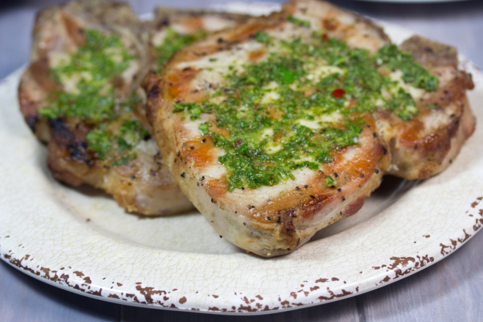 gluten free, brine, grilled, pork chop, chimichurri sauce , paleo, My Secret For Juicy Grilled Pork Chops (With Chimichurri Sauce)