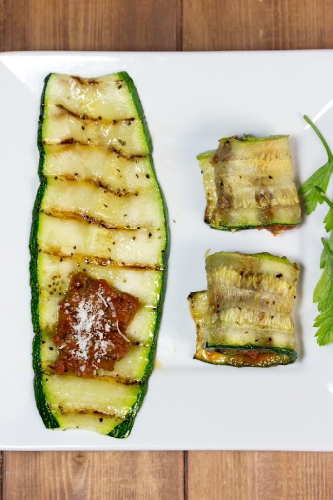 gluten free, grilled, zucchini, bolognese sauce