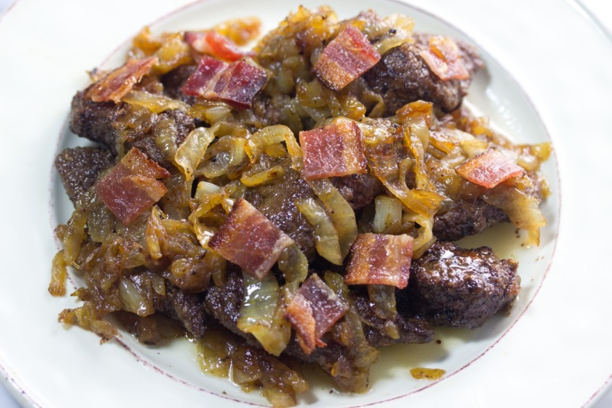 Beef Liver With Bacon And Caramelized Onions, gluten free, quick easy recipe