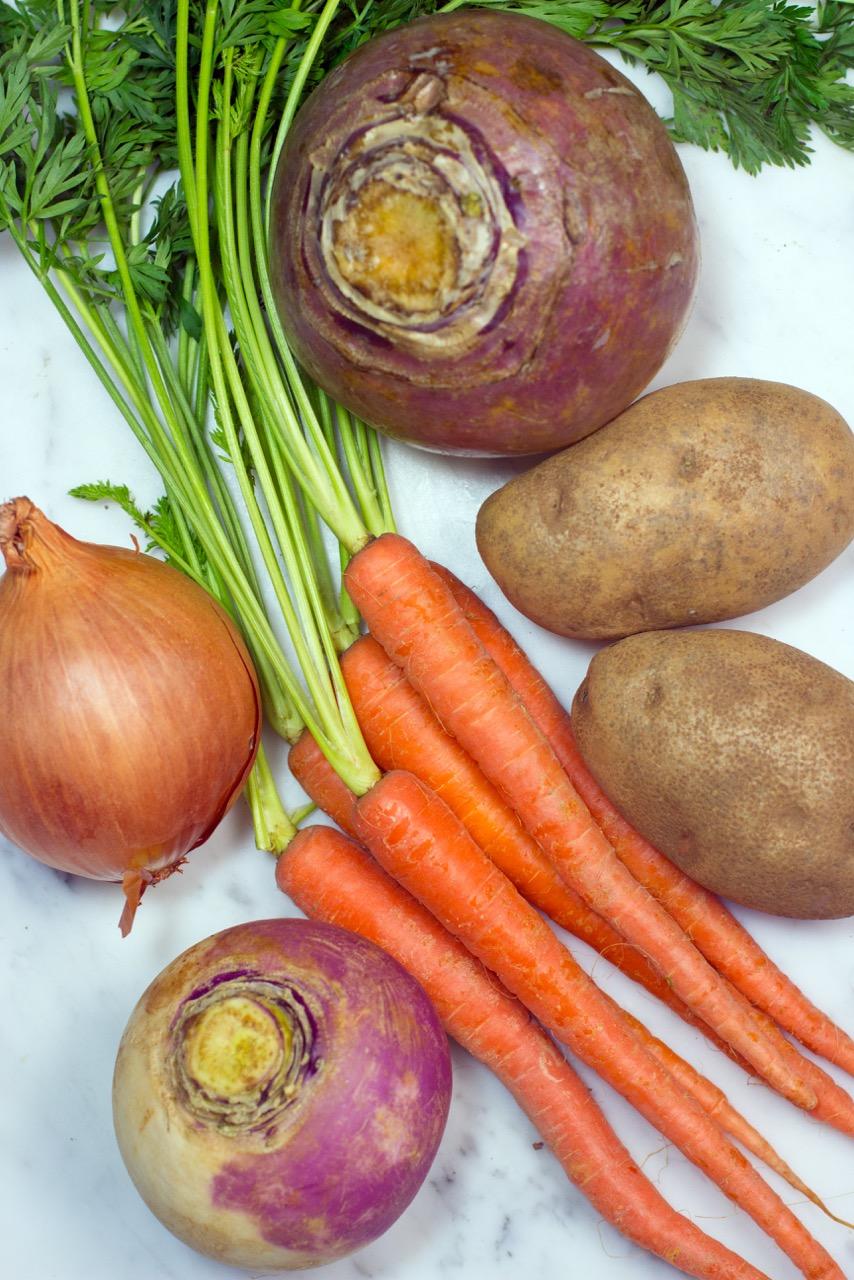 beef provencal, root vegetables, rutabaga, turnip, onion, carrots, potatoes