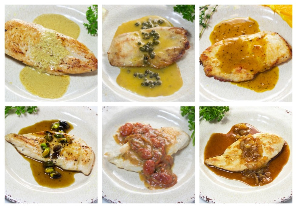Gourmet dinner in a flash! | 6 easy homemade sauce recipes | gluten free recipes | Orange sauce | Lemon Sauce | Maple sauce | Creamy Mustard sauce | Tomato Basil Sauce | Honey Dijon Sauce