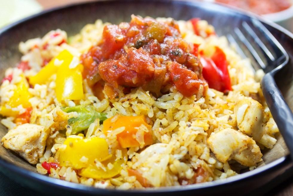 Healthy Tex Mex Chicken Rice Casserole