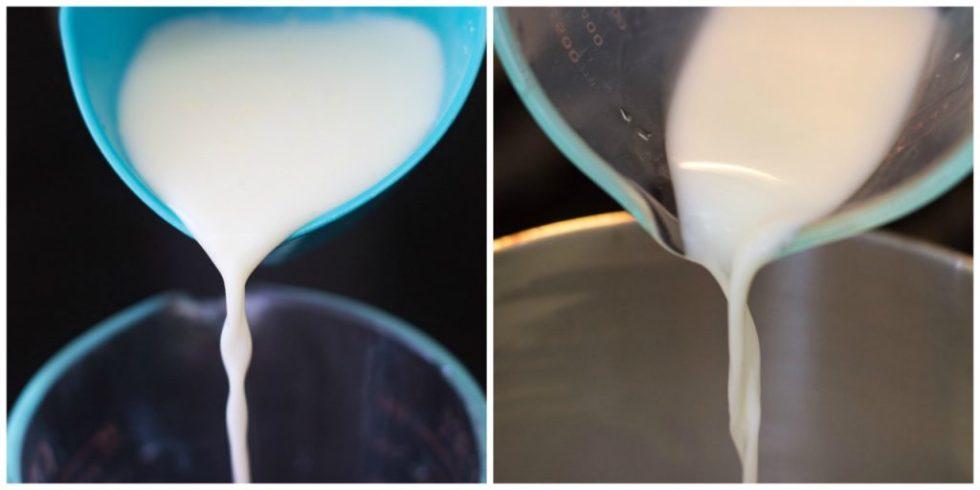 pour into measuring cup, then pot