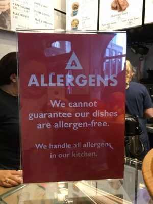 adventures of a gluten free globetrekker new allergen sign at Leon
