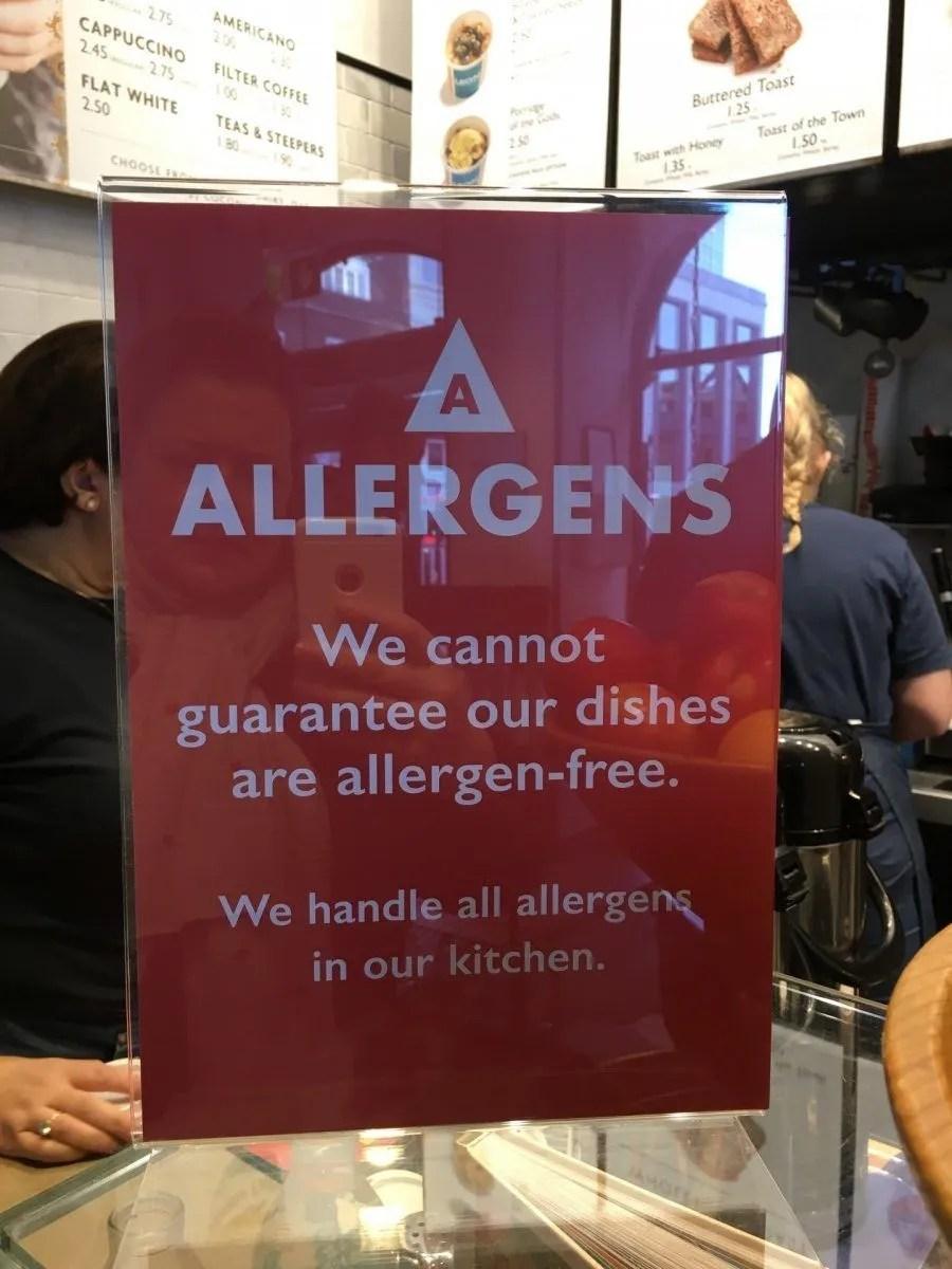 new allergen sign at Leon