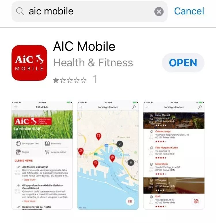 Gluten Free Travel Italy: What you need to know about changes to the AIC app