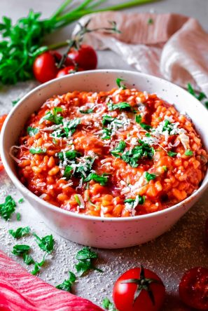 Low FODMAP Creamy Tomato Risotto (Vegan Option) |Gluten Free Stories