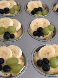 Gebakjes van Lassie Rijstbodem rijstvlaai met room en fruit