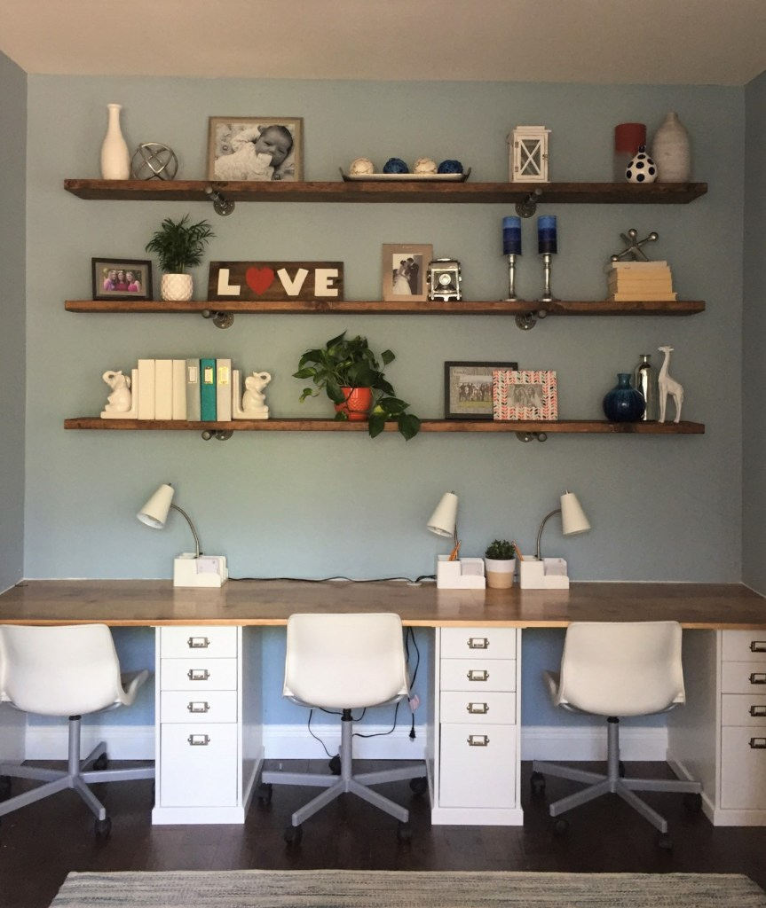 Home Office Reveal with Built-in Desk and Shelves