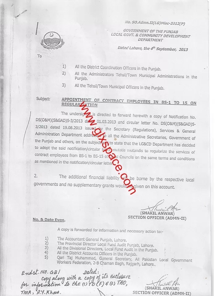 Notification of Local Govt Employees of Regularization