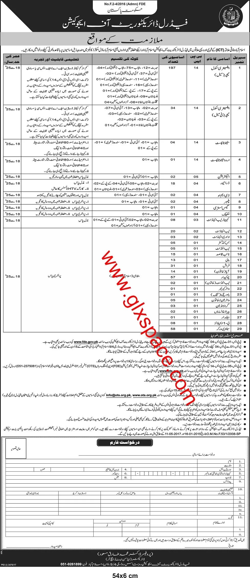 Federal Directorate of Education Vacancies 2018 for