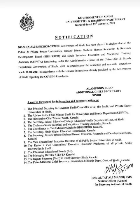 Notification of Re-Opening Educational Institutions in Sindh wef 1st Feb 2021