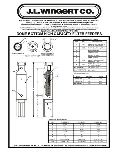 5 Gallon High Capacity J.L. Wingert FHC-DB-5HD Dome Bottom