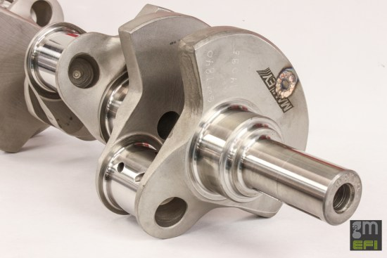 A Livernois Spec'd 4340 forged steel crankshaft with a 4.00-inch stroke is what takes the 376-cube LS3 to its 419-cubic-inch displacement – a 0.38-inch increase over the stock 3.62-inch stroke.