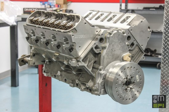 Here's the assembled short block, ready for the oil pan and ancillary accessories before being reinstalled in the G8. A comparable, boost-ready long block assembly like this runs in the neighborhood of $11,750 from Livernois Motorsports.