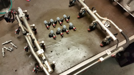 Injector Dynamics (ID) 850cc injectors replace the factory units.