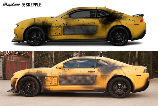 This rendering to real-life photo shows the accuracy of wrap printing.