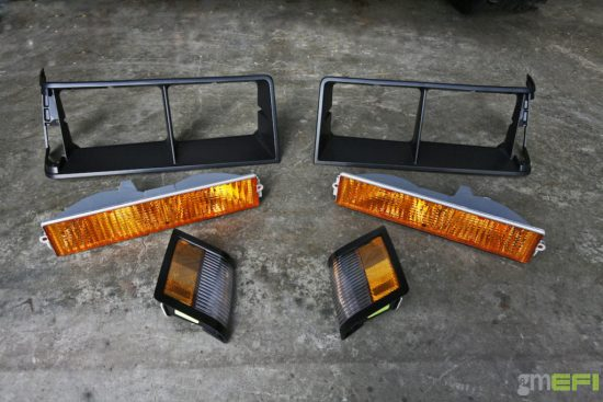 The bezels, side markers and parking lamps all came to us as one kit for GBodyParts -- they're avail be individually as well. Since they're prone to cracking, fading, stone ships and the like, it makes sense to order these together. A front grill is also available, if needed.