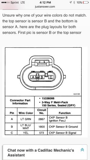 Crankshaft position sensor connectors  GM Forum  Buick, Cadillac, Olds, GMC & Pontiac chat