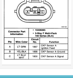 crankshaft position sensor connectors gm forum buick cadillac olds gmc pontiac chat [ 750 x 1334 Pixel ]