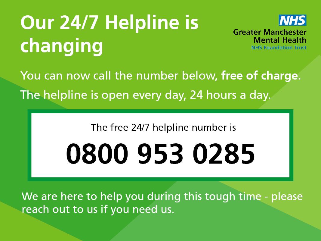 GMMH 24/7 Helpline new freephone number 0800 953 0285 ...