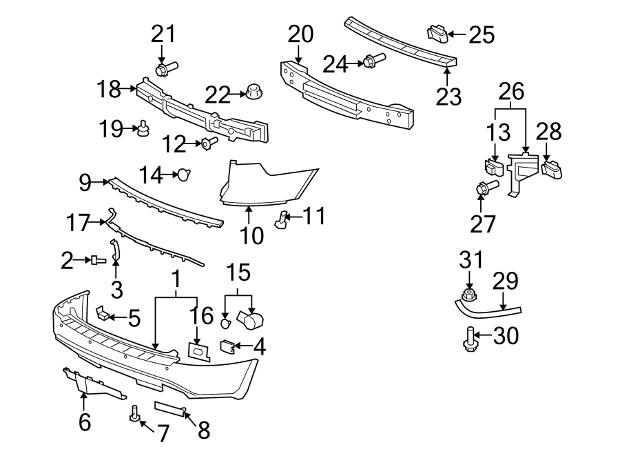 Buick Enclave Parking Aid System Wiring Harness. 2008-2012