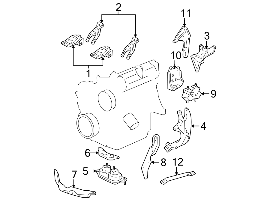Buick Rendezvous Bracket. Mount. Engine. (front, rear