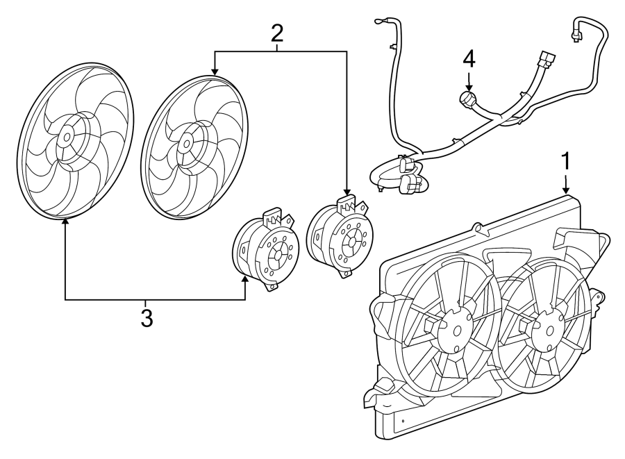 Buick Regal Harness, engine cooling fan wiring. 2011-2013