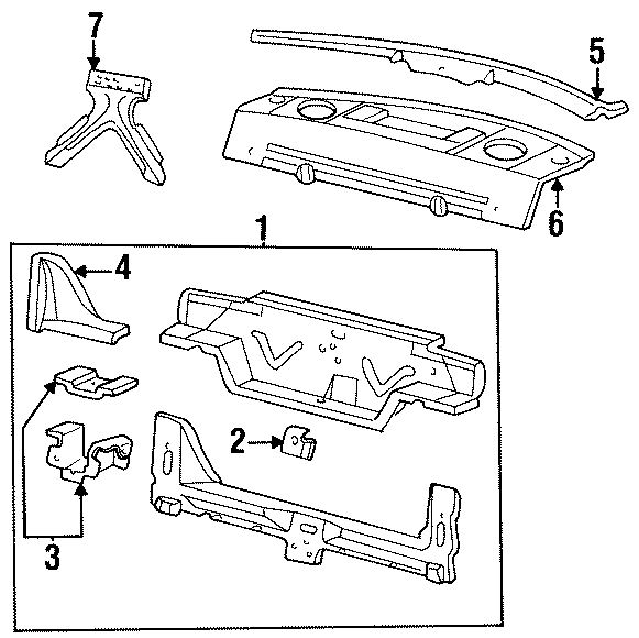 Cadillac Deville Panel above lid. 1994-96. 1997-99. BODY