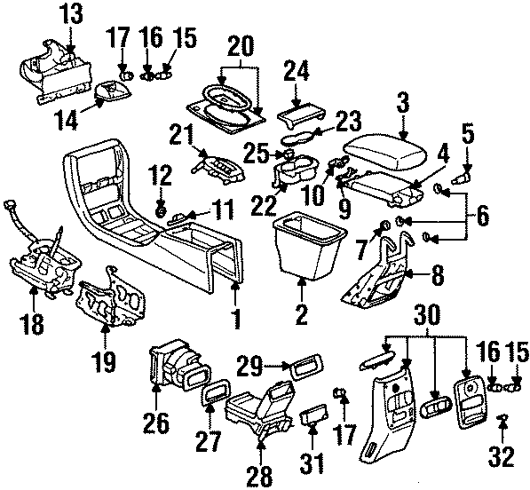 Cadillac Deville Console Mat (Front, Rear, Upper). 1996-97