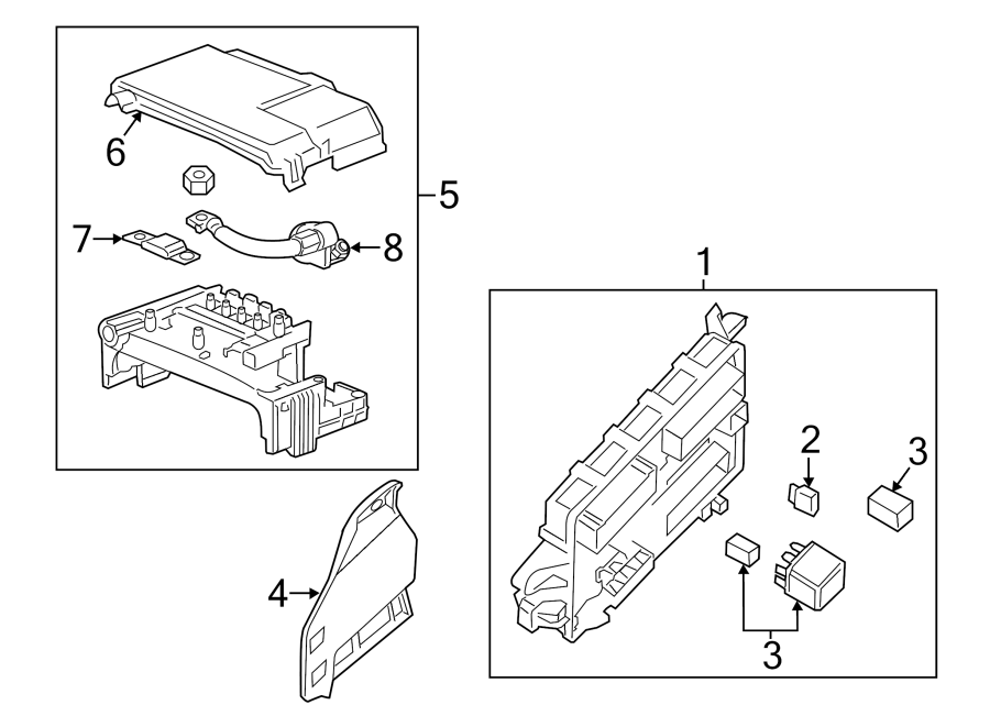 Cadillac CTS Junction Block. COUPE, REAR COMPARTMENT. REAR