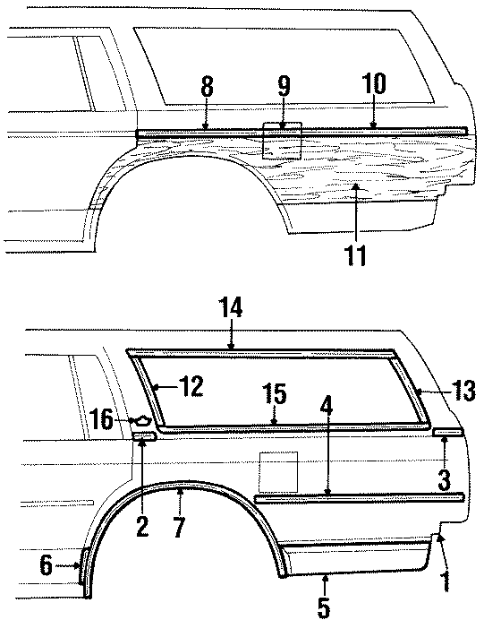 Chevrolet Impala Molding. Overlay surround, upper front