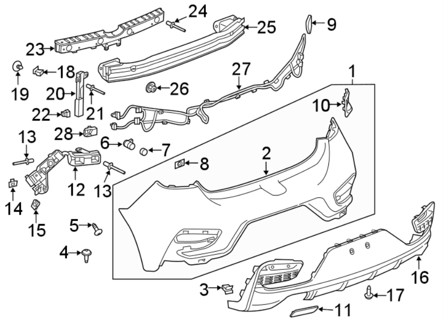 Chevrolet Cruze Parking Aid System Wiring Harness