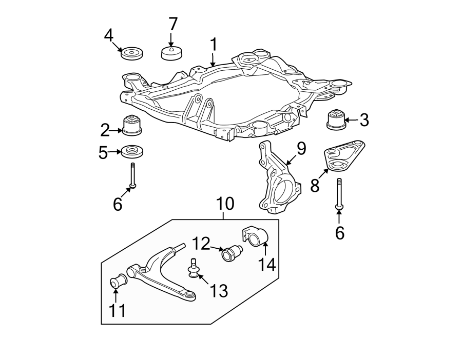 Chevrolet Malibu Engine Cradle Insulator. SUSPENSION