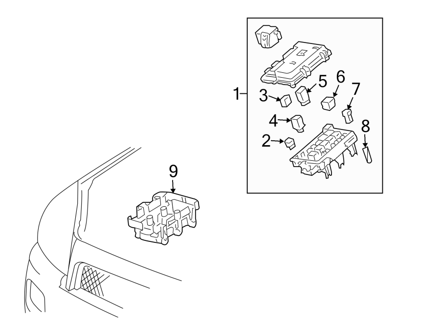 Pontiac Montana Fuse Box Cover (Lower). JUNCTION BLOCK
