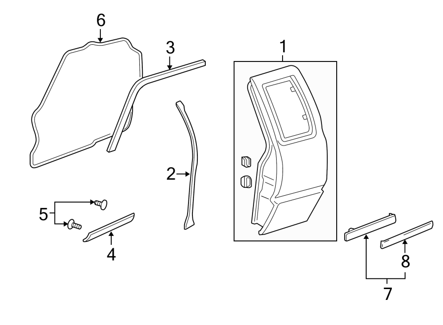 Chevrolet S10 Door Seal (Front, Rear). EXTENDED CAB, EASY