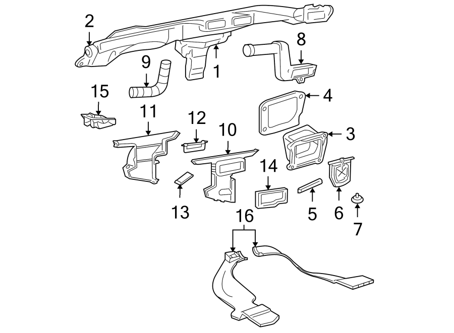 GMC Jimmy Instrument Panel Air Duct (Rear). 1995-97