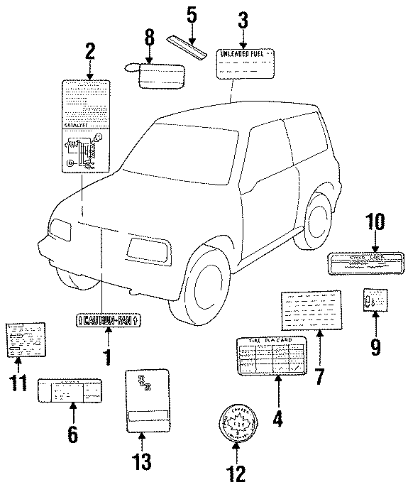 Geo Tracker Info label. Brake interlock. Brake interlock