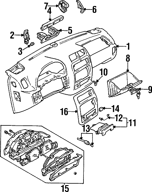 Geo Tracker Compartment. 1996-98. PANEL, MOTORS