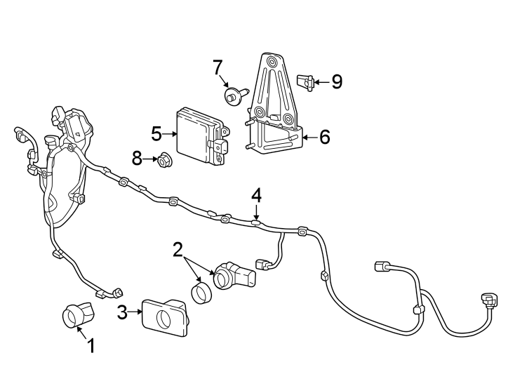 GMC Acadia Parking Aid System Wiring Harness. 2020