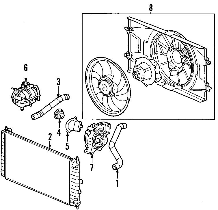 Saturn Ion Engine Cooling Fan Assembly. LITER, Radiator