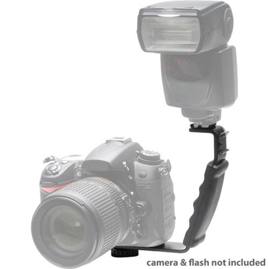 Horizontal Bracket Camera Flash Grip Rail For DSLR DC SLR Light Stand Hot-Shoe