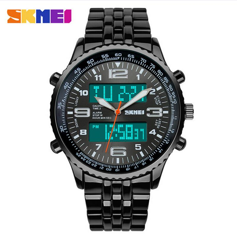 be783634d Skmei Fashion Casual Brand Men's Wristwatches Stainless Steel Vintage LED Digital  Quartz Waterproof Watch Men Sports Watches