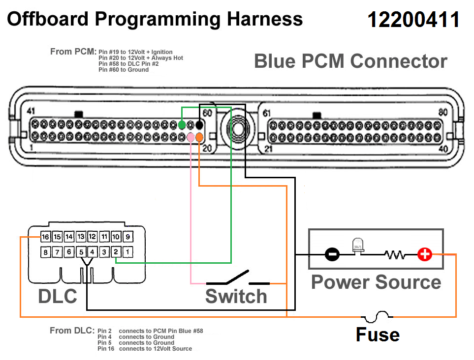 led wiring diagram 120v ge xl44 gas range parts building a benchtop pcm tuning harness - gm truck central